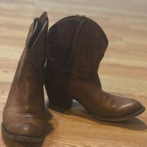 Brown leather cowboy booties